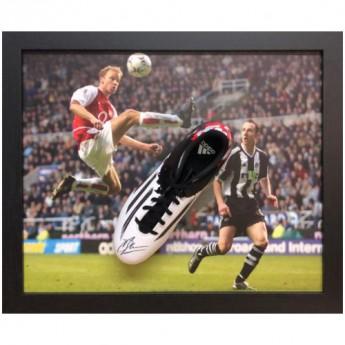 Legendák bekeretezett futballcipő Arsenal FC Bergkamp Signed Boot (Framed)