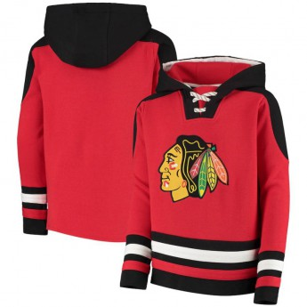 Chicago Blackhawks gyerek kapucnis pulóver Lace-Up Pullover Hoodie - Red