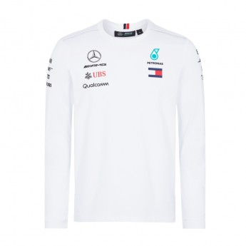 Mercedes AMG Petronas férfi hosszú ujjú póló Longsleeve white F1 Team 2018