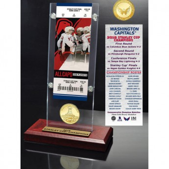 Washington Capitals ajándékcsomag 2018 Stanley Cup Champions 3.5 x 9 Ticket & Bronze Coin Acrylic Desk Top