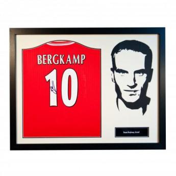 Legendák bekeretezett mez FC Arsenal Bergkamp Signed Shirt Silhouette
