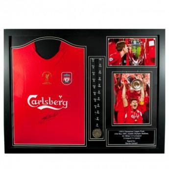 Legendák bekeretezett mez FC Liverpool Gerrard Signed Shirt Istanbul (Framed)