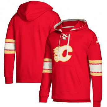 Calgary Flames férfi kapucnis pulóver red Adidas Jersey Lace-Up Pullover Hoodie