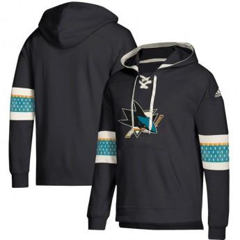 San Jose Sharks férfi kapucnis pulóver black Adidas Jersey Lace-Up Pullover Hoodie